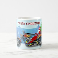Christmas Santa Riding Chopper Bike With Red Hat Coffee Mug