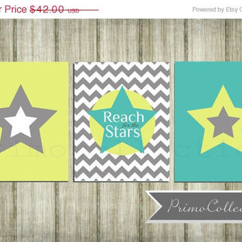 Nursery Wall Art Prints / set of 3 / stars theme / 8x10 inch / turquoise yellow and gray chevron / baby boy / boy's room decor/ retro