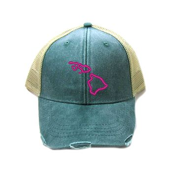 Hawaii Hat - Distressed Snapback Trucker Hat - Hawaii State Outline - Many Colors Available