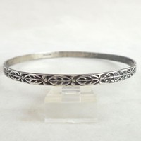 Vintage DANECRAFT Sterling Silver Tribal Leaves Bangle Bracelet