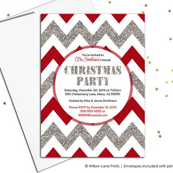 Christmas party invitations - chevron party invite - faux sparkles - red and silver holiday invitations - printable or printed (560)