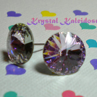 Vitrail Light Rivolis - Crystal Post Earrings handmade with Swarovski Elements, 12mm Studs