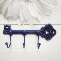 Cast Iron Key Hook / Blue Decor / Iron Key / Skeleton Key / Wall Key Holder / Key Rack / Decorative Key Hook / Shabby Chic Wall Hook / Hook
