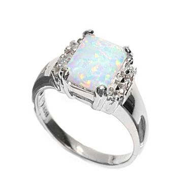 Cushion Cut White Lab Opal and Clear White Cubic Zirconia Set  in Sterling Silver Band