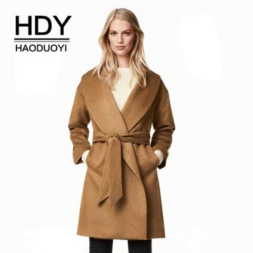 Winter New Fashion Warm Midi Long Trench Coat Turn Down Collar Loose Belt Coat Casual Chic Women Outwears