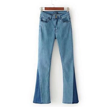 Fashion Sexy Show Thin Retro Splicing Bell-Bottom Trousers Casual Cowboy Pants