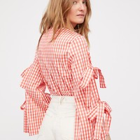 Free People Gingham Top With Sleeve Detail