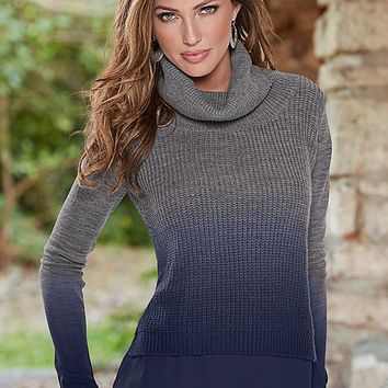 GREY & WINE Ombre mixed media sweater from VENUS