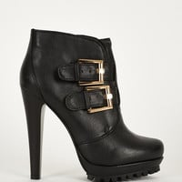 Double Buckle Strap Ankle Boot