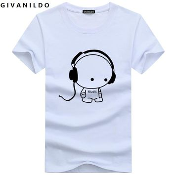 Givanildo 5XL Tee Shirt Men Large Size Clothes Men T-Shirt 2017 Fashion Printed Cartoon Short Sleeve Music Casual Cotton BY006