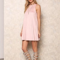 Pink Suede Trapeze Dress