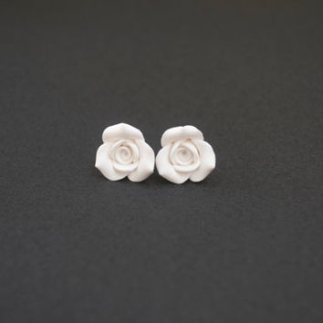Polymer Clay Rose Stud Earrings. Flower Post by sevdacholakova