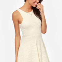 A Lace For Romance Cream Lace Dress