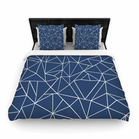 "Project M ""Abstraction Outline Navy"" Blue Abstract Woven Duvet Cover"