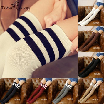2017 Sexy Women's Girls Stripes Cotton Over the Knee Thigh High Stockings Striped Pantyhose Female Autumn Winter Stocking