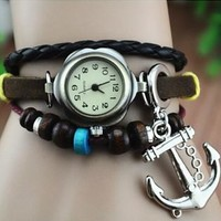 Leather Belt Watch with Anchor Pendant and Wooden Beads 136