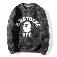 Bape Aape Autumn And Winter New Fashion Camouflage Long Sleeve Top Sweater Gray