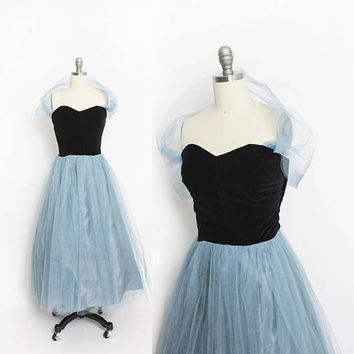 Vintage 1950s Dress - Strapless Black Velvet Halter Blue + Gold Tulle Full Skirt Party Dress 50s - Small