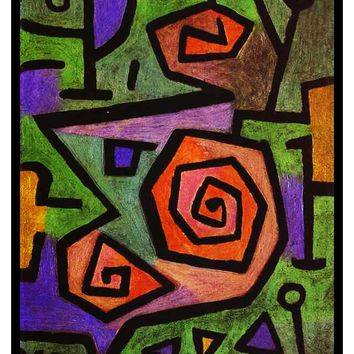 Heroic Roses by Expressionist Artist Paul Klee Counted Cross Stitch or Counted Needlepoint Pattern
