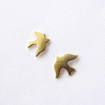 Doves Earring Studs - Autumn Bird Sky Nature Woodland Jewelry - Sterling Silver Posts (E204)