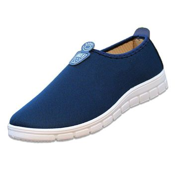 Rushed Slip-on Breathable Massage Canvas New Casual Shoes Men Summer Mesh For Super Light Flats Foot Wrapping Big Size #39-44
