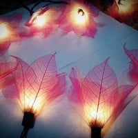 20 Pink-White Leave Flower fairy string lights Wedding Party Floral Ho