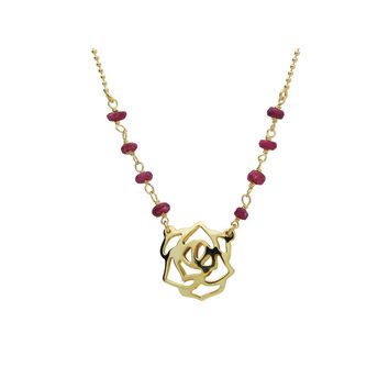 """Silver Gold Plated Rose Pendant Ruby Beads  16""""+ 2""""Necklace"""