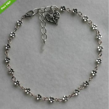 Hot Sale Stylish Shiny Gift Awesome Great Deal New Arrival Vintage Silver Heart Anklet Bracelet [6043006081]