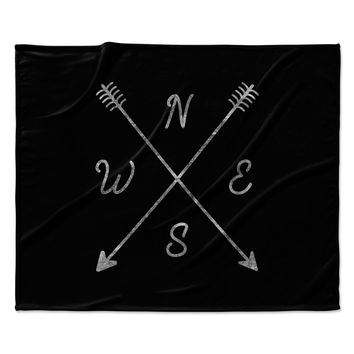 "Draper ""Cardinal Direction B"" Black Vintage Fleece Throw Blanket"