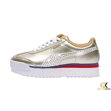 Womens Puma Roma Amor + Crystals - Gold | Mix Metal