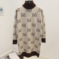 GUCCI new autumn and winter double g letter turtleneck joker sweater Apricot