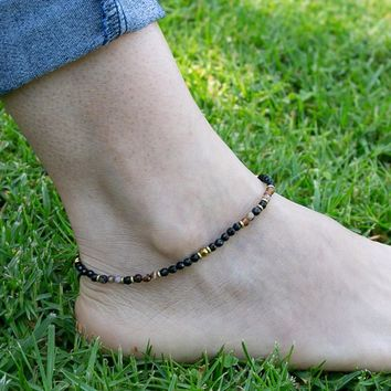 Onyx and Agate Anklet