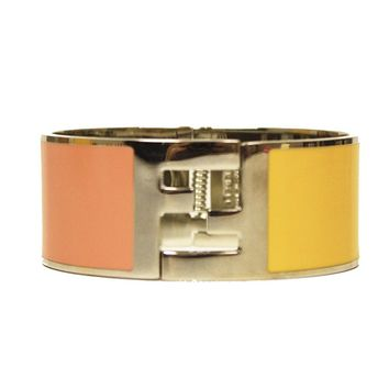 Fendi Bangle Palladium Pink/Yellow Cuff Bracelet V46L00