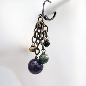 Antiqued Brass Dangle Cluster Earrings with Red and Green Agate Beads Handmade by Lindsey - Gold Pearls - Black Glass Beads -Tassel Earrings