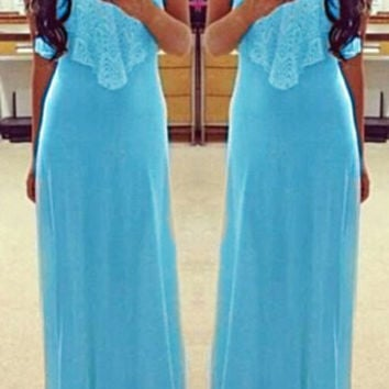 Blue Spaghetti Strap Flounce Lace Maxi Dress