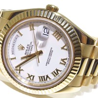 Mens Rolex DayDate II 41mm 218238 18K Yellow Gold White Roman Dial Watch