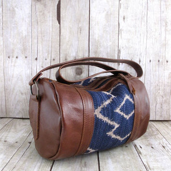 Handmade Leather Barrel Bag, Cross Body Bag, Tapestry Leather Bag, Brown Leather Hobo