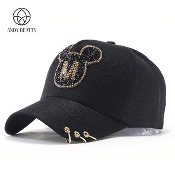 Trendy Winter Jacket Andybeatty Women Baseball Caps Sun Hats Breathable Cotton Hat Gorras Summer Cap For Women Snapback Casquette Mickey pattern AT_92_12