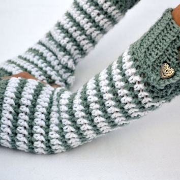 Winter snow flake crochet button wrist warmers, arm warmers, fingerless gloves mittens in a longer size
