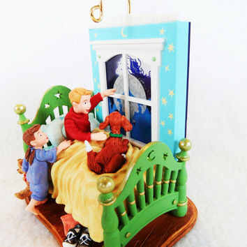 "NIB Hallmark Keepsake Ornament ""A Time to Believe"" Light-up, Wind-up Christmas Holiday Xmas Decoration Child Kid Puppy Santa Sleigh Reindeer"