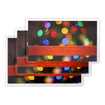 Multicolored Christmas lights. Add text or name. Acrylic Tray
