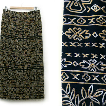 Vintage Maxi Skirt~Size Large Waist 30~Boho Tribal Aztec Hawaiian Geometric Floral Print Black White Yellow Wrap Skirt~By Charter Club