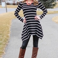 Black and White Striped Drape Stretch Dress