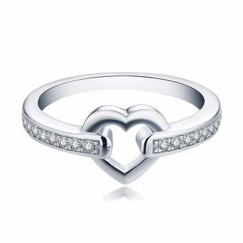 Women's Sterling Silver Heart Center Ring