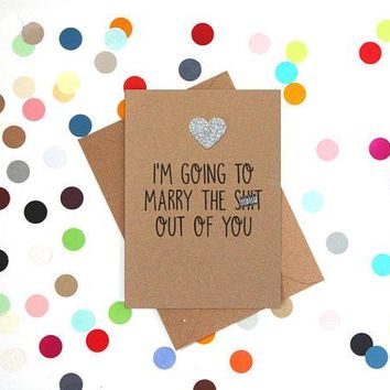 Marry The Shit Out Of You Funny Happy Wedding Day Card Getting Married Card Engagement Card FREE SHIPPING