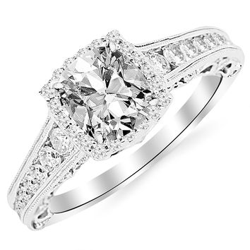 GIA CERTIFIED | 1.45 Carat Cushion-Cut 14K White Gold Vintage Sidestone Diamond Engagement Ring with Milagrain half Bezel Baguette with a 0.70 Carat, D-E Color, VVS1-VVS2 Clarity Center Stone (Platinum, Yellow, White, Rose)