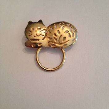 Vintage Gold Cat Brooch Ultra Craft Pin Costume Jewelry 1980s