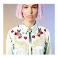 PRE ORDER - KITTY COWBOY SILK SHIRT OF DREAMS WITH FRINGING - Silken Favours