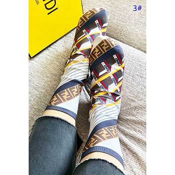 Fendi & LV Louis Vuitton & GUCCI Fashion New Monogram Letter Pattern Print Keep Warm Long Sock Women 3# No Box