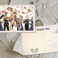 "50 Wedding Thank You Cards - Rennes Vintage Photo Personalized 4""x6"""